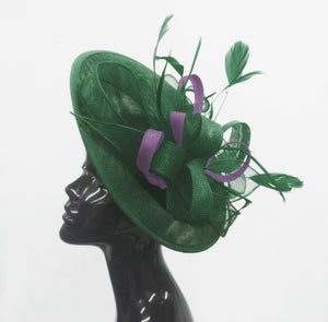 Caprilite Big Saucer Sinamay Green & Lavender Purple Mixed Colour Fascinator On Headband
