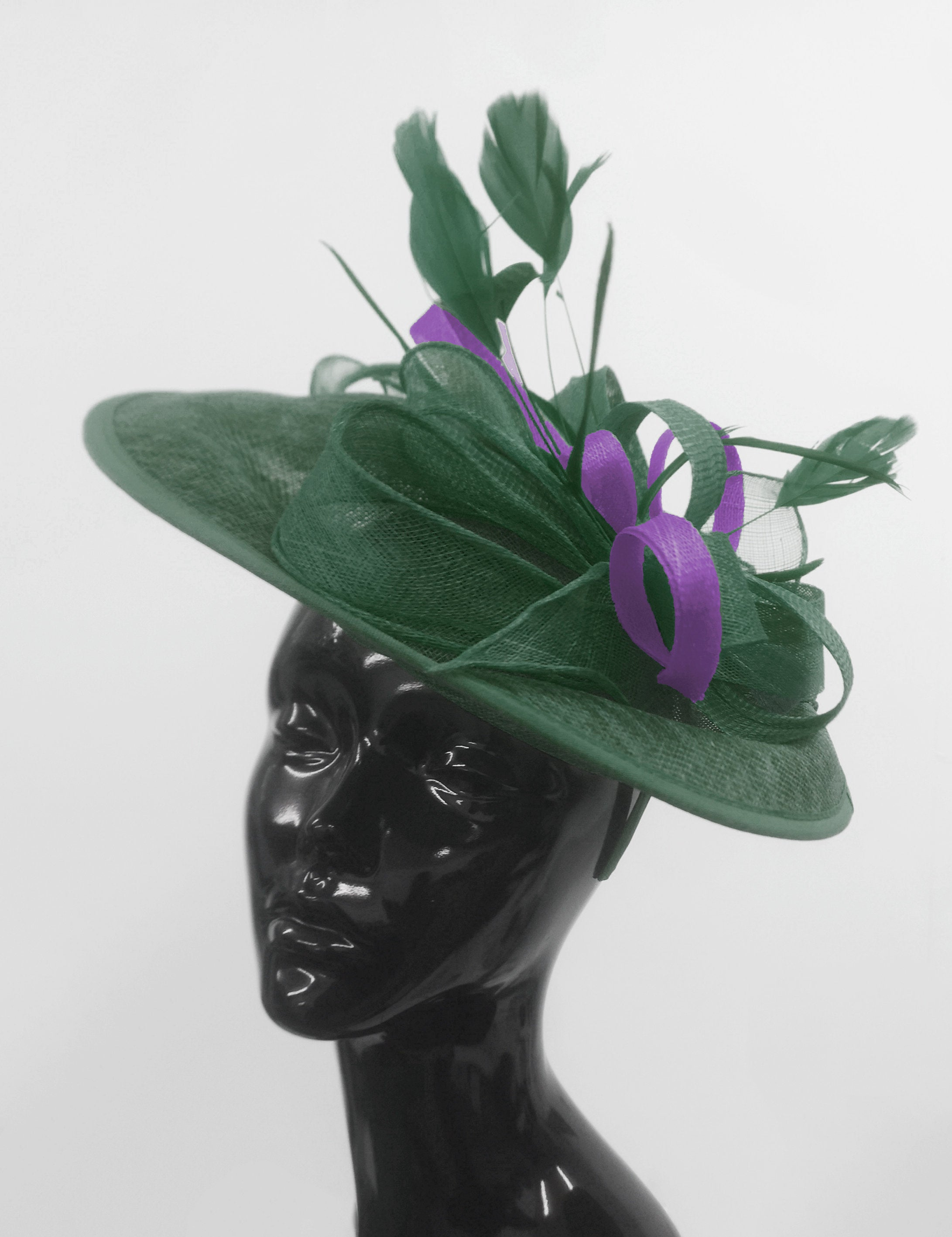 Caprilite Big Saucer Sinamay Green & Cadbury Purple Mixed Colour Fascinator On Headband