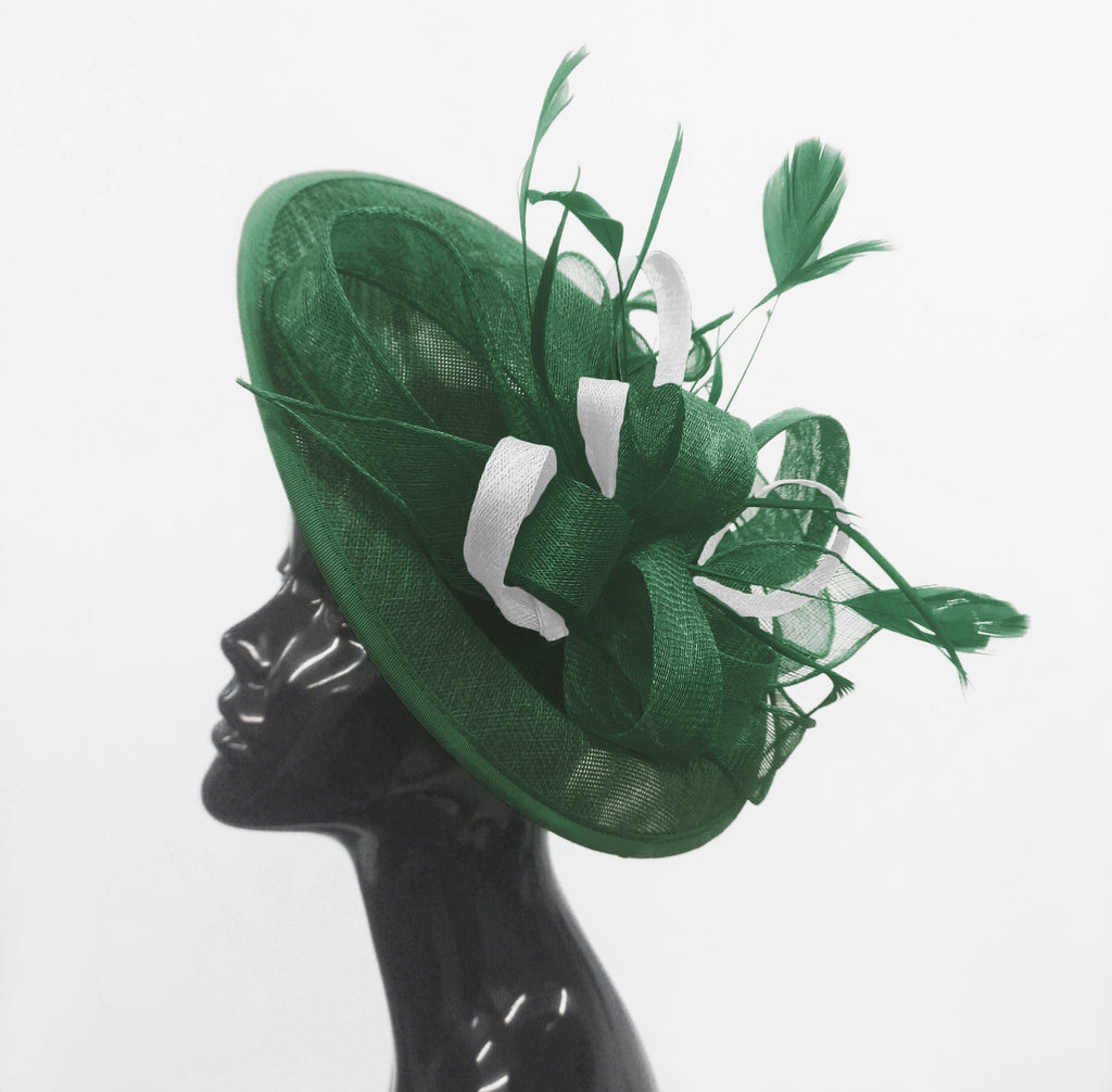 Caprilite Big Saucer Sinamay Green & White Mixed Colour Fascinator On Headband
