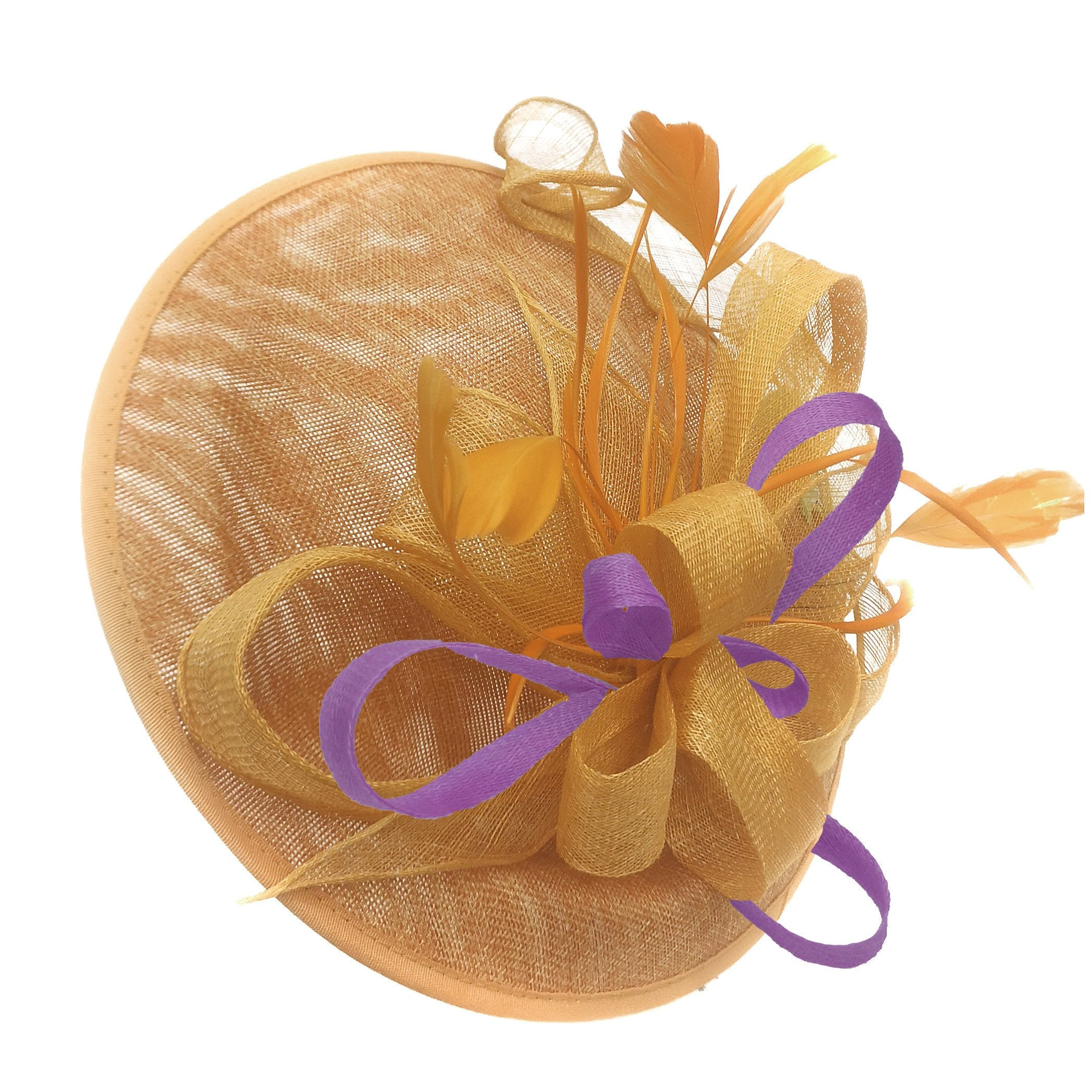 Caprilite Big Saucer Sinamay Gold Mustard & Cadbury Purple Mixed Colour Fascinator On Headband