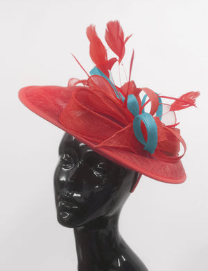 Caprilite Big Saucer Sinamay Red & Light Blue Mixed Colour Fascinator On Headband