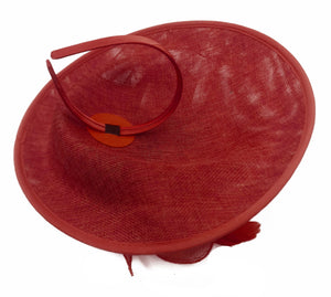 Caprilite Big Saucer Sinamay Red & Dusty Pink Mixed Colour Fascinator On Headband