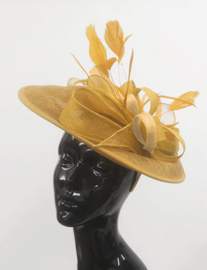 Caprilite Big Saucer Sinamay Gold Mustard Colour Fascinator On Headband