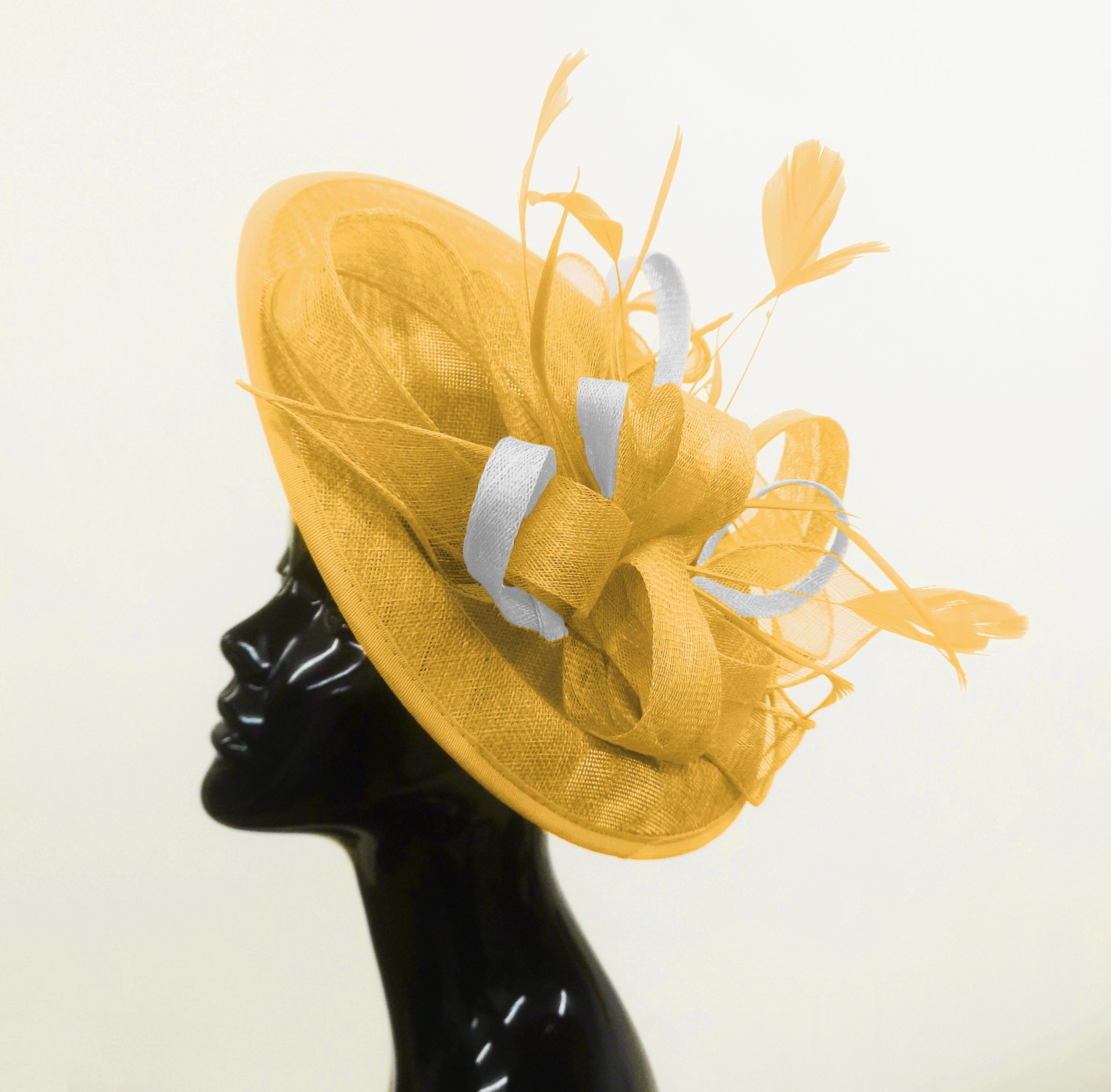 Caprilite Big Saucer Sinamay Gold Mustard & White Mixed Colour Fascinator On Headband