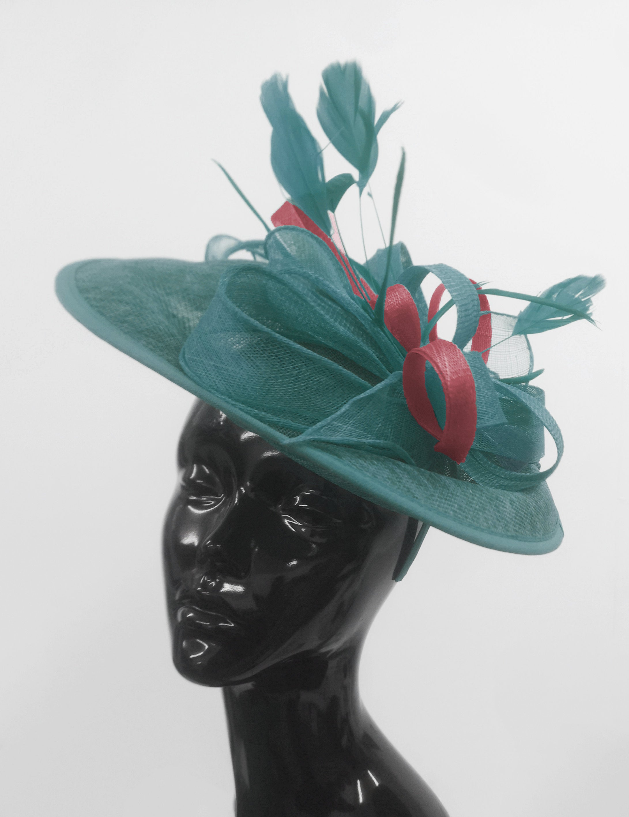 Caprilite Big Saucer Sinamay Teal Turquoise & Burgundy Mixed Colour Fascinator On Headband