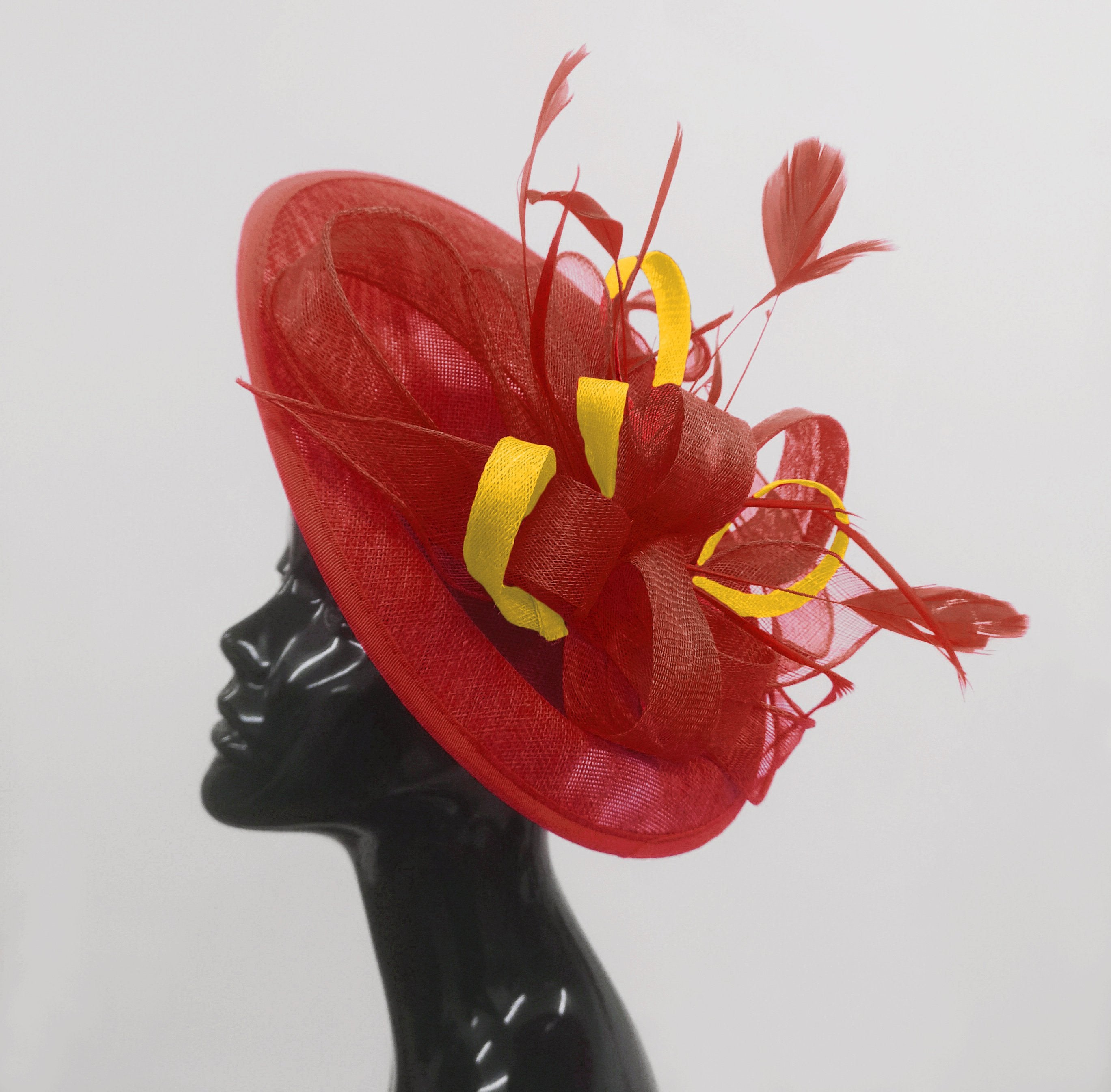 Caprilite Big Saucer Sinamay Red & Yellow Mixed Colour Fascinator On Headband