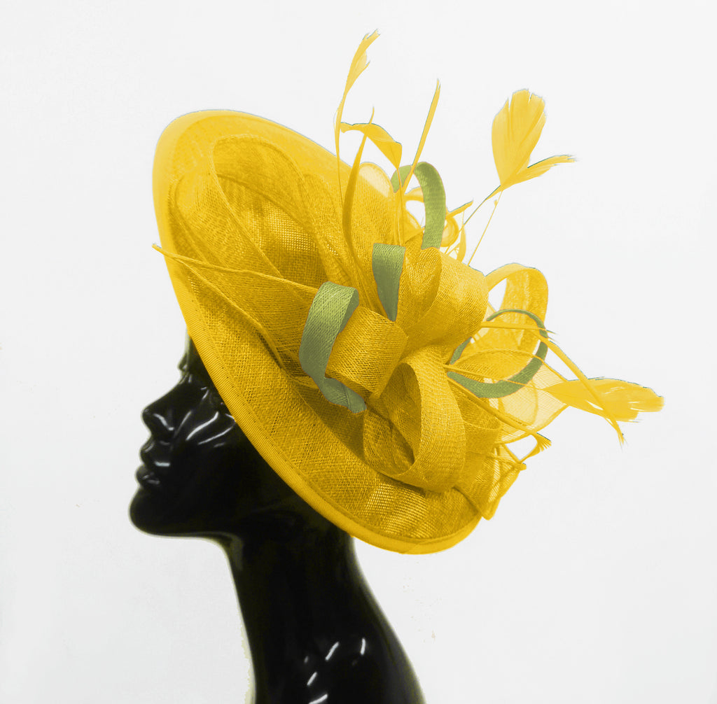 Caprilite Big Saucer Sinamay Yellow & Lime Green Mixed Colour Fascinator On Headband