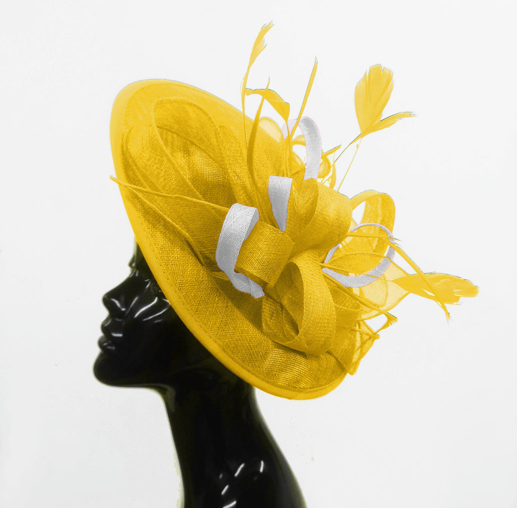 Caprilite Big Saucer Sinamay Yellow & White Mixed Colour Fascinator On Headband