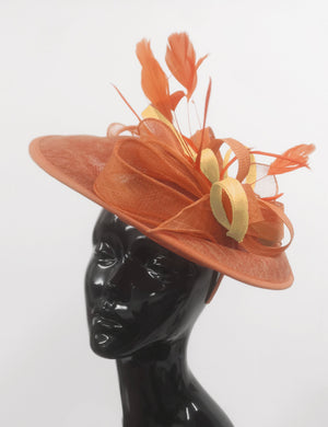 Caprilite Big Saucer Sinamay Orange & Mustard Gold Mixed Colour Fascinator On Headband