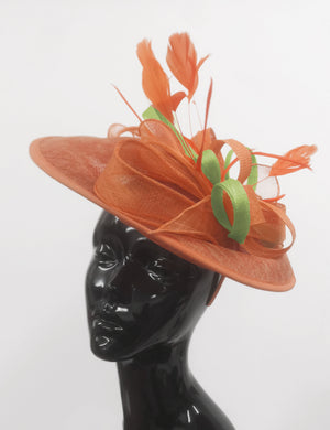 Caprilite Big Saucer Sinamay Orange & Lime Green Mixed Colour Fascinator On Headband