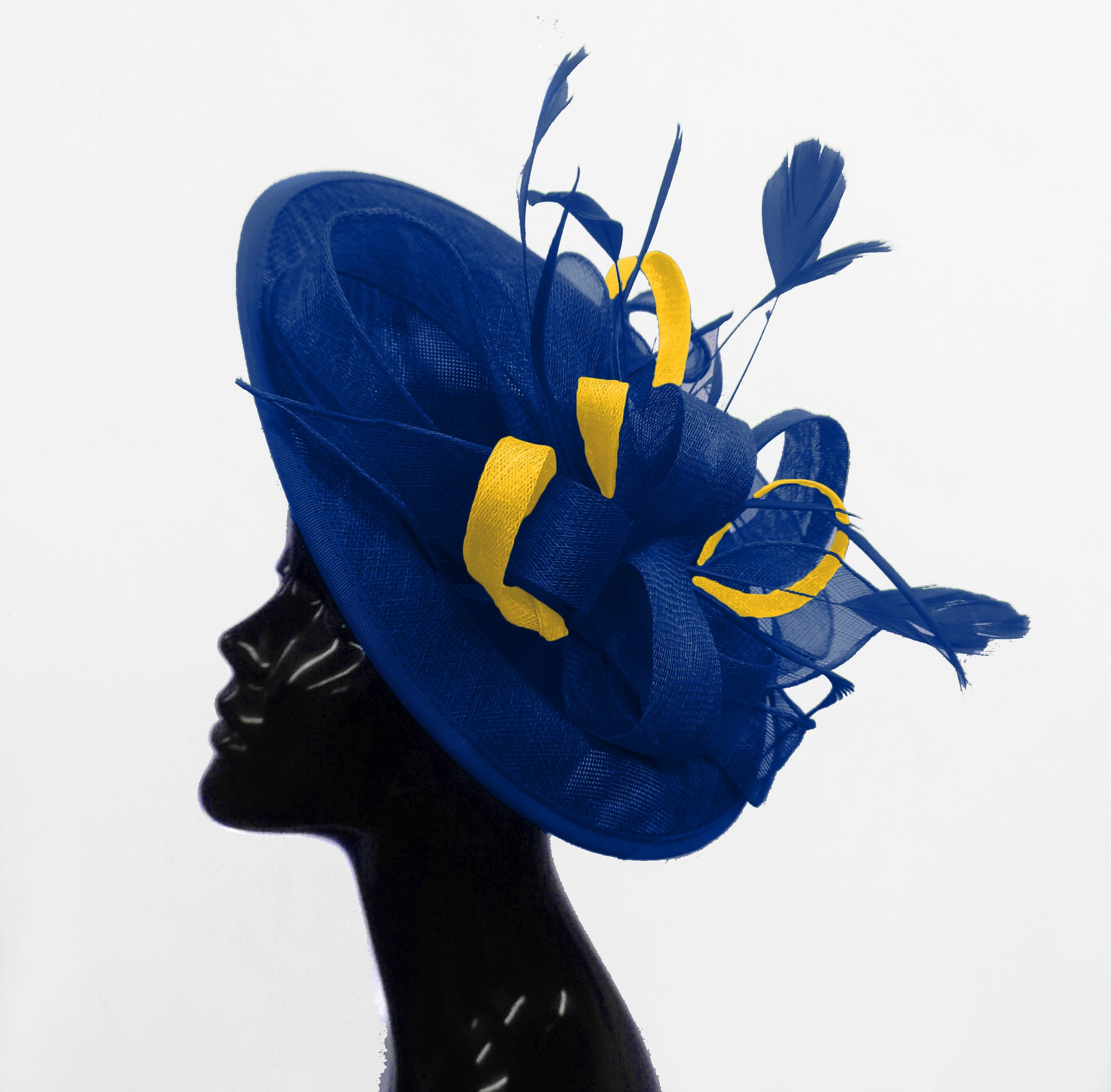 Caprilite Big Saucer Sinamay Royal Blue & Yellow Mixed Colour Fascinator On Headband
