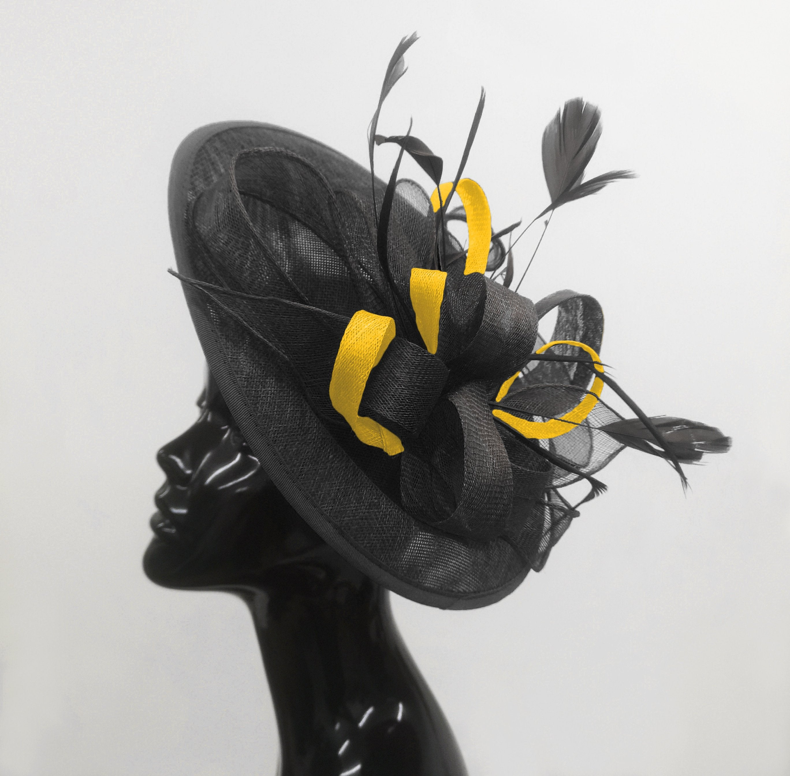 Caprilite Big Saucer Sinamay Black & Yellow Mixed Colour Fascinator On Headband
