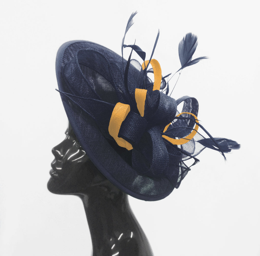 Caprilite Big Saucer Sinamay Navy Blue & Mustard Gold Mixed Colour Fascinator On Headband