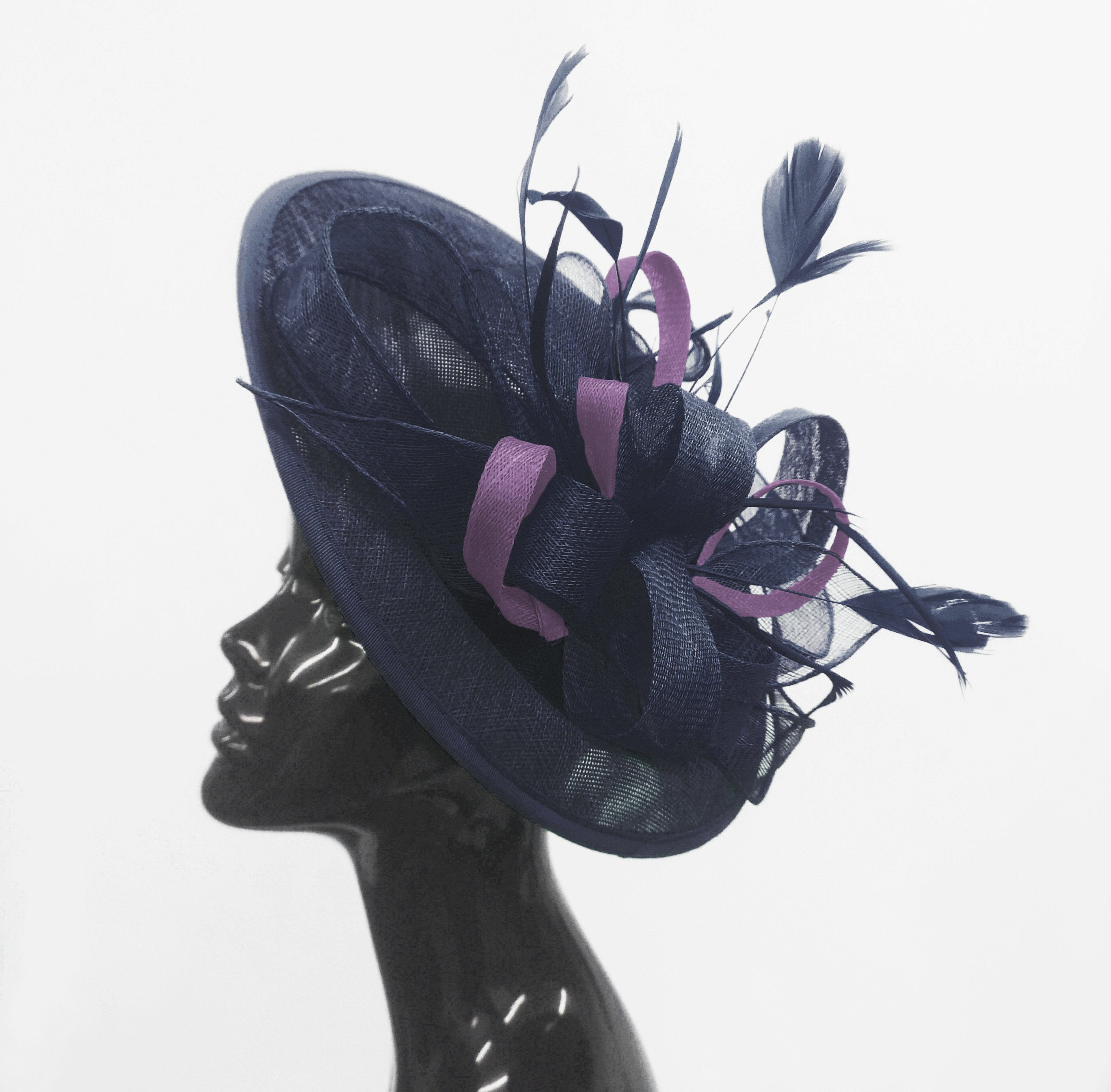 Caprilite Big Saucer Sinamay Navy Blue & Lavender Purple Mixed Colour Fascinator On Headband