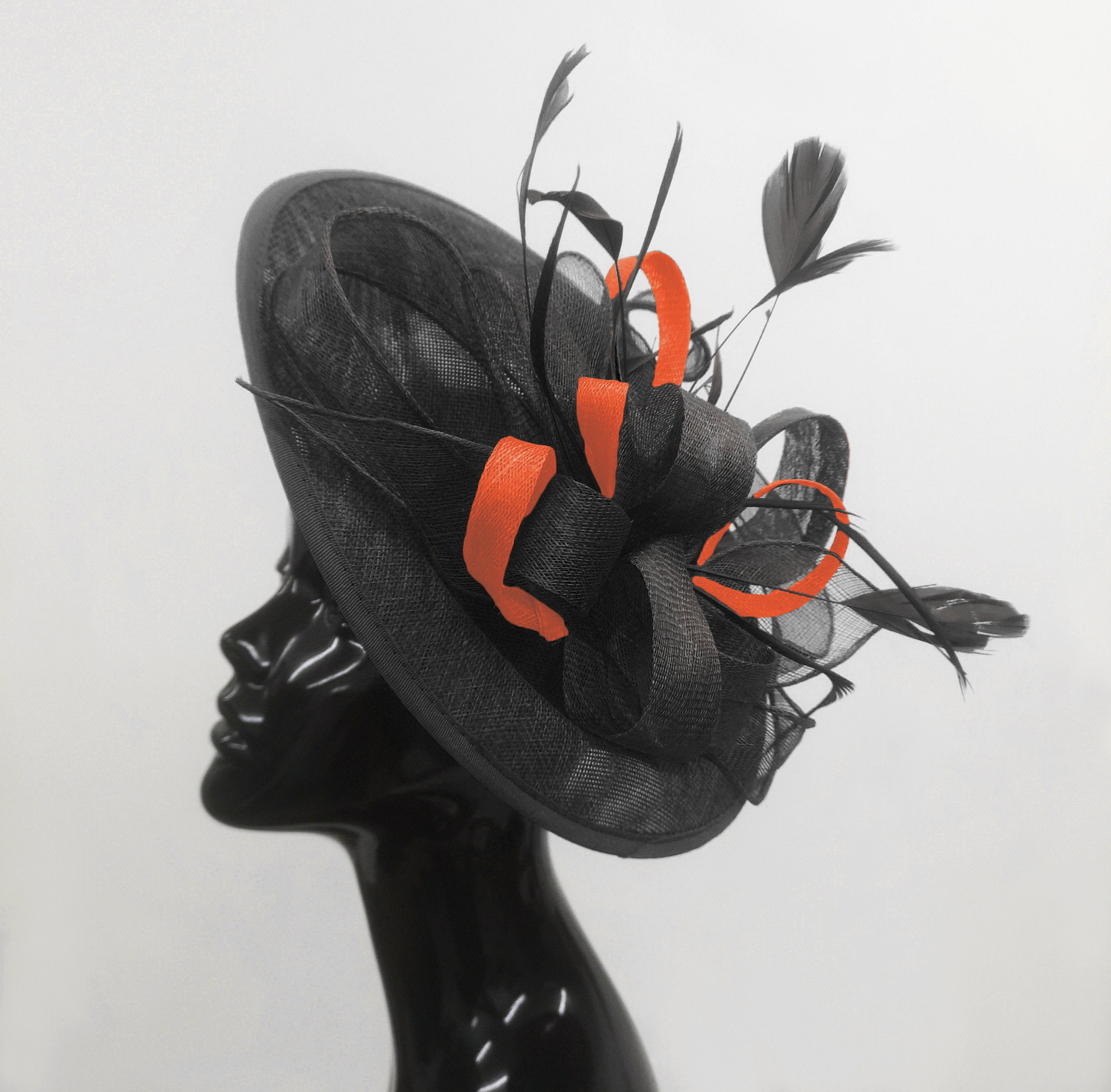 Caprilite Big Saucer Sinamay Black & Orange Mixed Colour Fascinator On Headband
