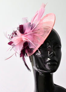 Caprilite Sinamay Fascinator Baby pink and Burgundy Saucer base hat on headband