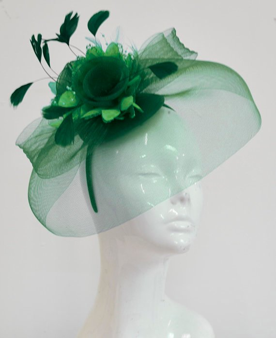 Pop Hat with Veil in Emerald Green and Jade on Headband Fascinator Hatinator