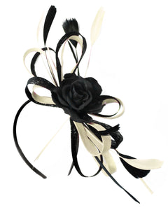 Caprilite Sinamay Rose Black and Cream Ivory Fascinator on Headband Alice Band UK Wedding Ascot Races Loop