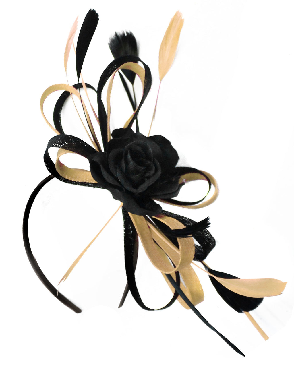 Caprilite Sinamay Rose Black and Light Mustard Gold Fascinator on Headband Alice Band UK Wedding Ascot Races Loop