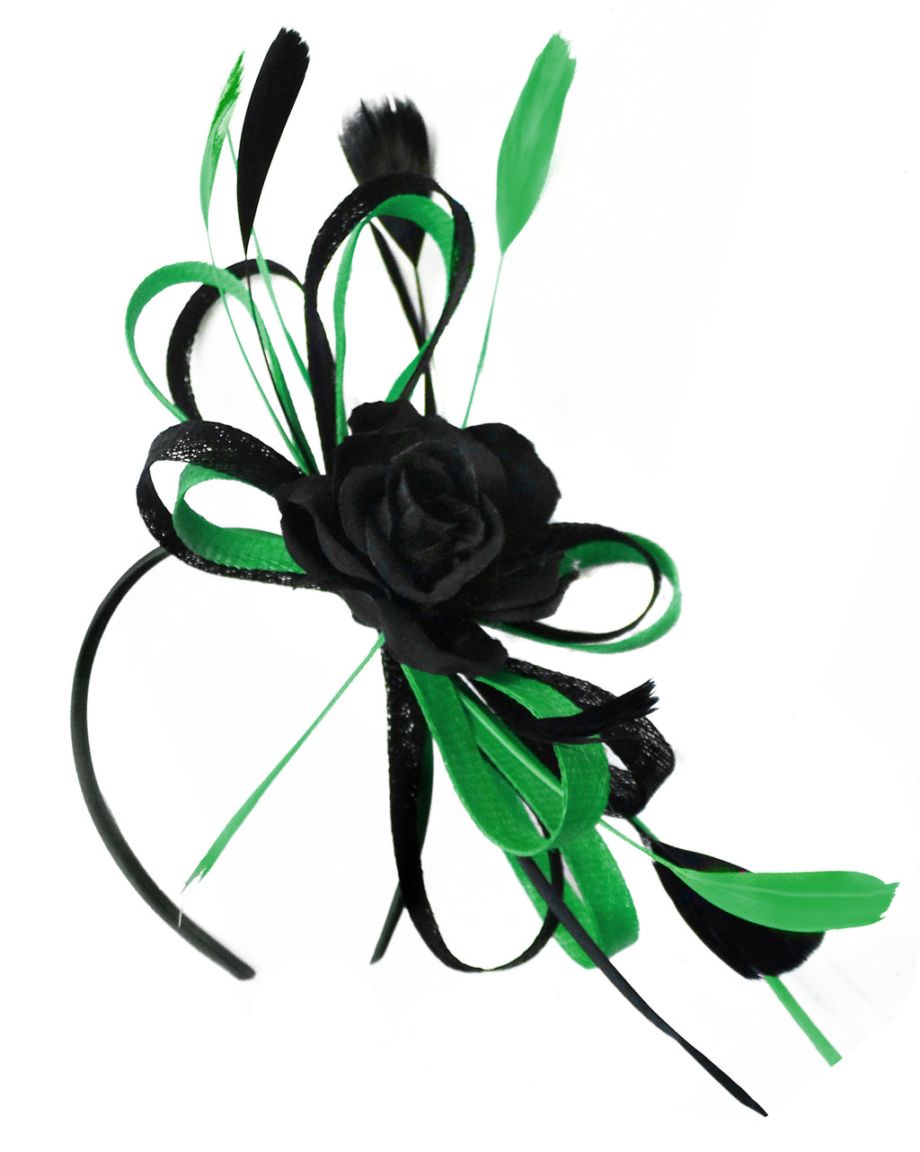Caprilite Sinamay Rose Black and Green Fascinator on Headband Alice Band UK Wedding Ascot Races Loop