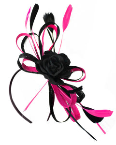 Caprilite Sinamay Rose Black and Fuchsia Hot Pink Fascinator on Headband Alice Band UK Wedding Ascot Races Loop