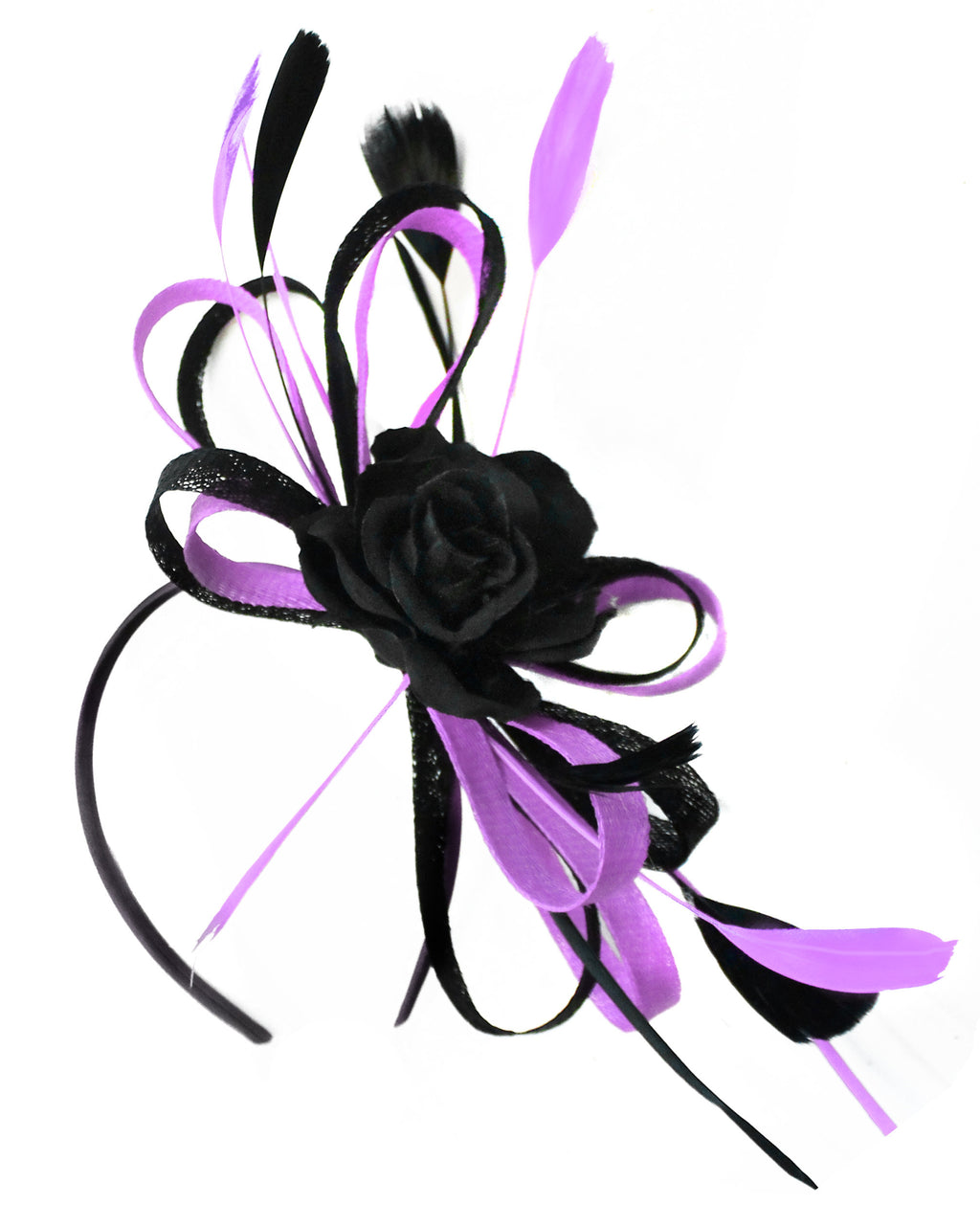 Caprilite Sinamay Rose Black and Lavender Lilac Light Purple Fascinator on Headband Alice Band UK Wedding Ascot Races Loop