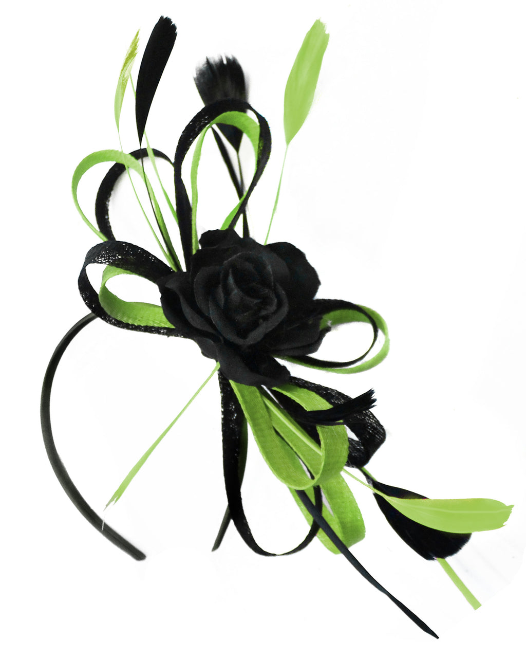 Caprilite Sinamay Rose Black and Lime Fascinator on Headband Alice Band UK Wedding Ascot Races Loop