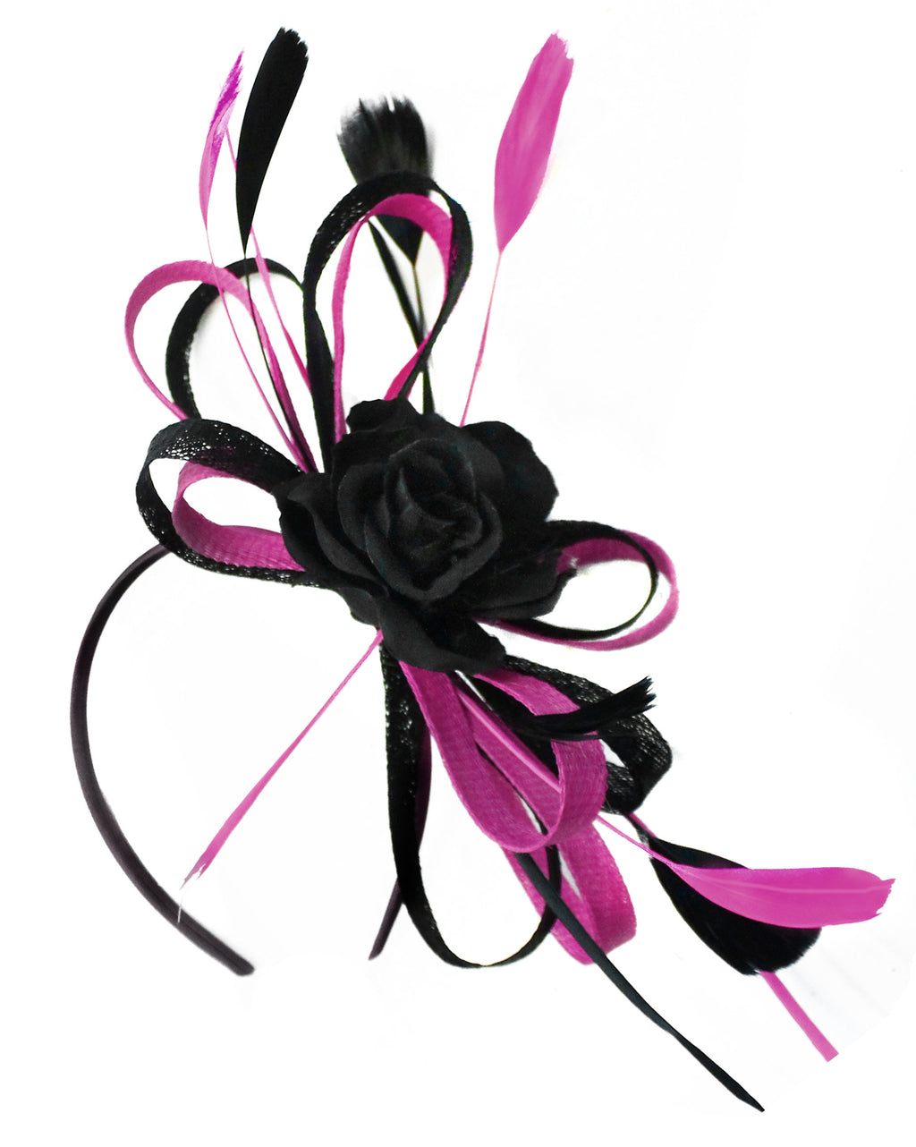 Caprilite Sinamay Rose Black and Plum Fascinator on Headband Alice Band UK Wedding Ascot Races Loop