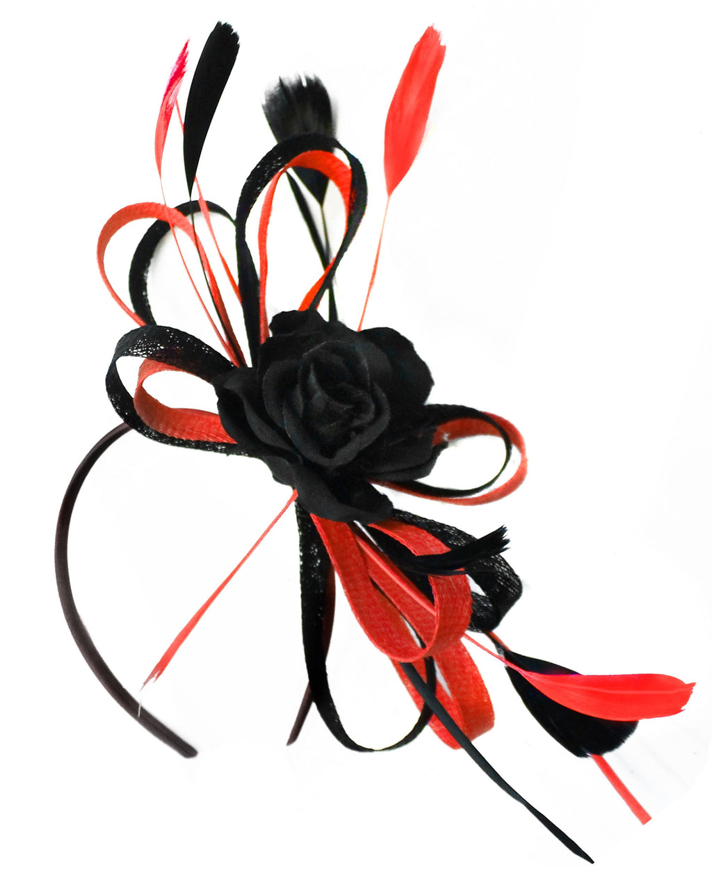 Caprilite Sinamay Rose Black and Scarlet Red Fascinator on Headband Alice Band UK Wedding Ascot Races Loop