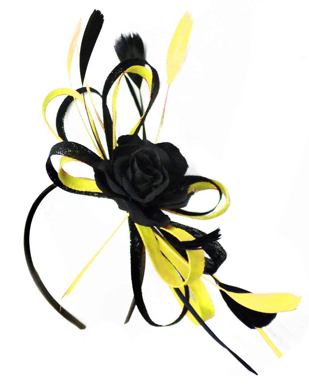 Caprilite Sinamay Rose Black and Yellow Fascinator on Headband Alice Band UK Wedding Ascot Races Loop