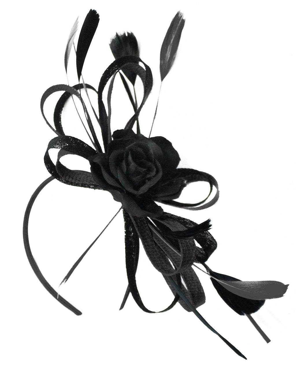 Caprilite Sinamay Rose Black Fascinator on Headband Alice Band UK Wedding Ascot Races Loop