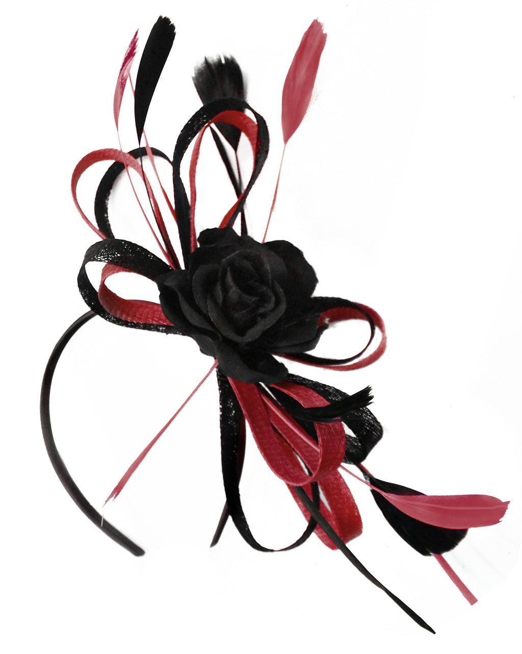 Caprilite Sinamay Rose Black and Burgundy Dark Red Fascinator on Headband Alice Band UK Wedding Ascot Races Loop