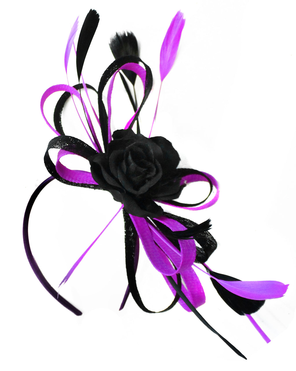 Caprilite Sinamay Rose Black and Cadbury Purple Fascinator on Headband Alice Band UK Wedding Ascot Races Loop