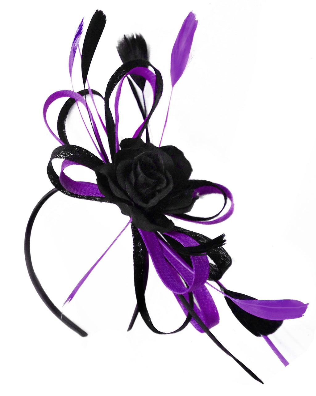 Caprilite Sinamay Rose Black and Dark Purple Fascinator on Headband Alice Band UK Wedding Ascot Races Loop
