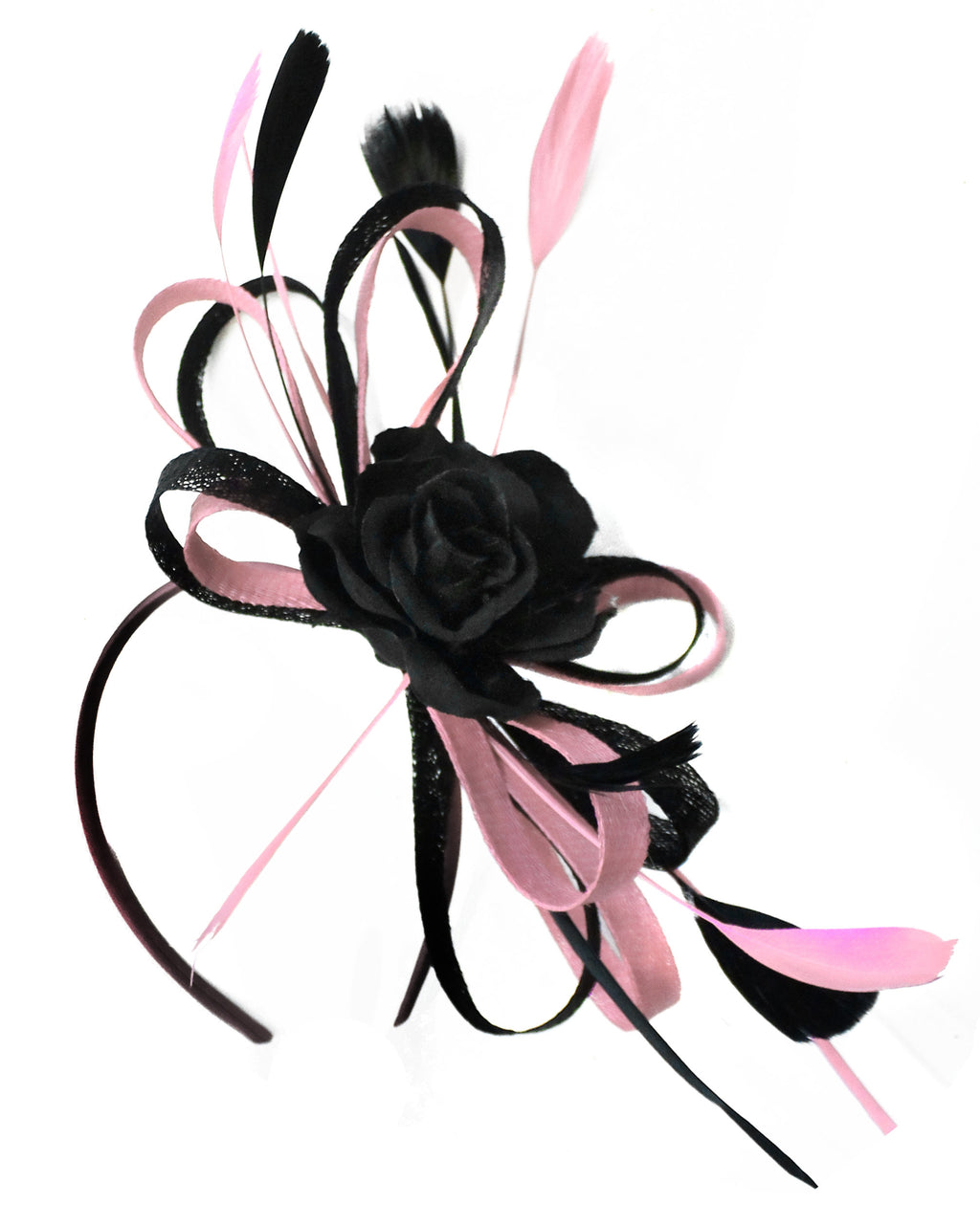 Caprilite Sinamay Rose Black and Dusty Pink Fascinator on Headband Alice Band UK Wedding Ascot Races Loop