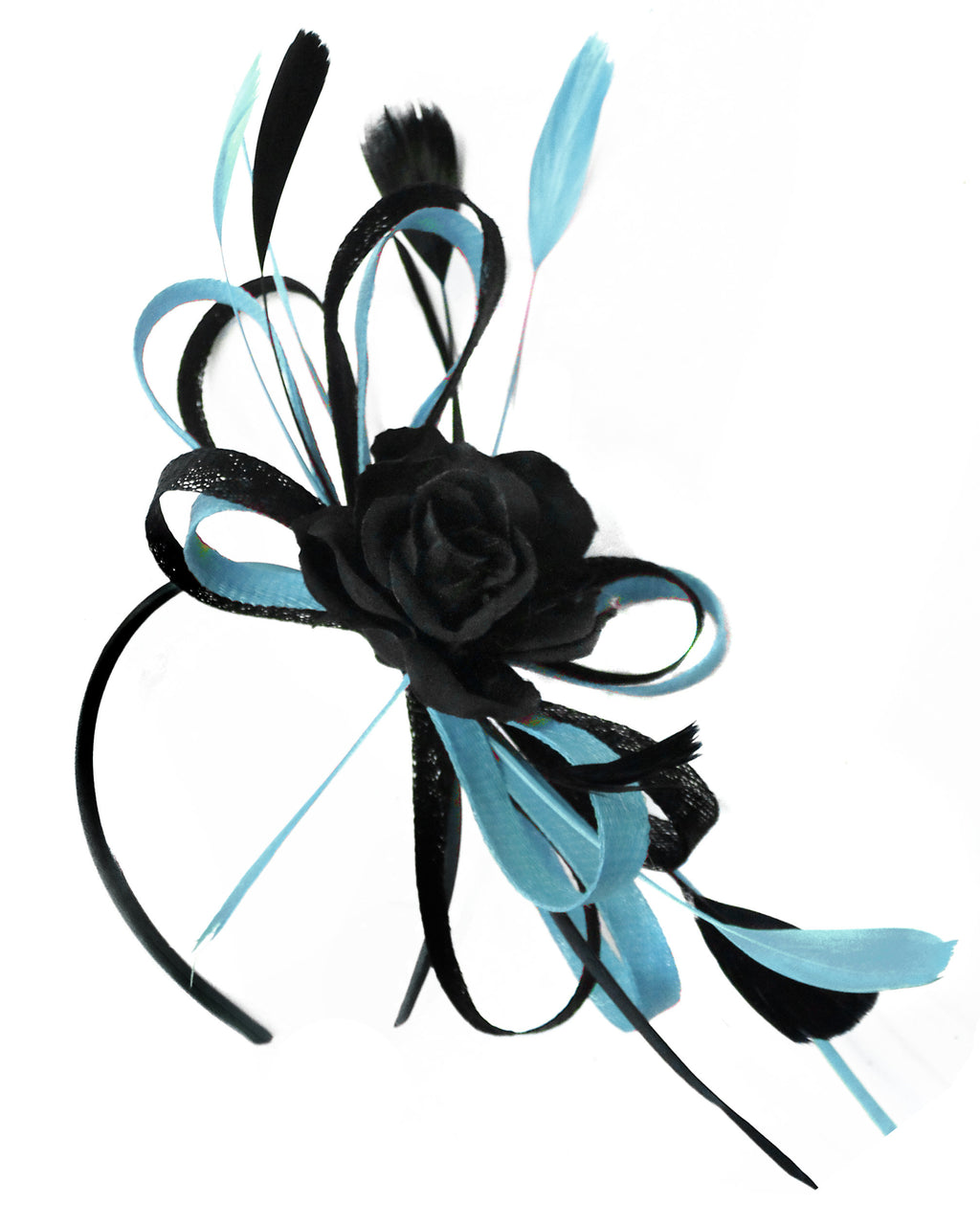 Caprilite Sinamay Rose Black and Light Blue Fascinator on Headband Alice Band UK Wedding Ascot Races Loop