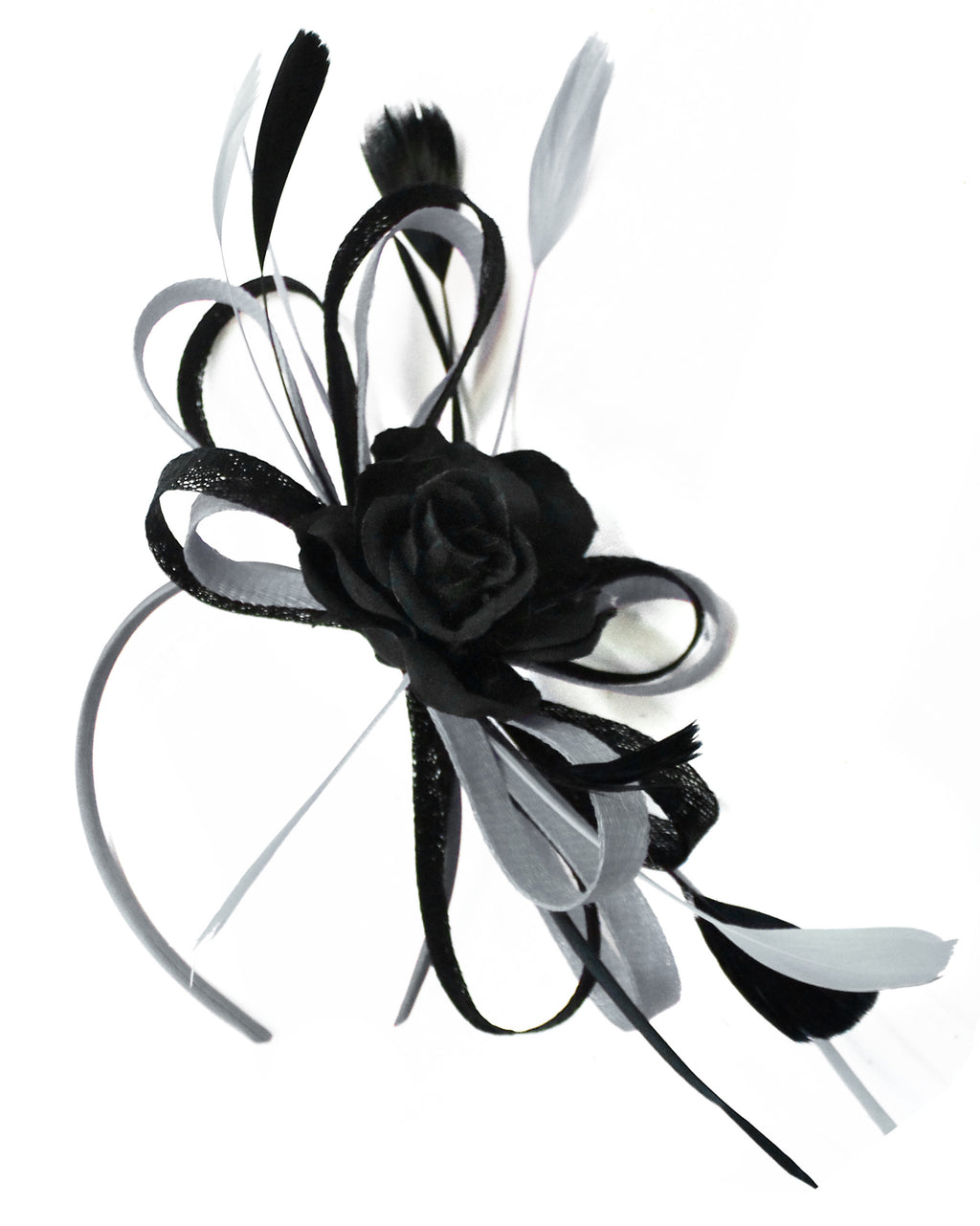 Caprilite Sinamay Rose Black and Silver Grey Fascinator on Headband Alice Band UK Wedding Ascot Races Loop