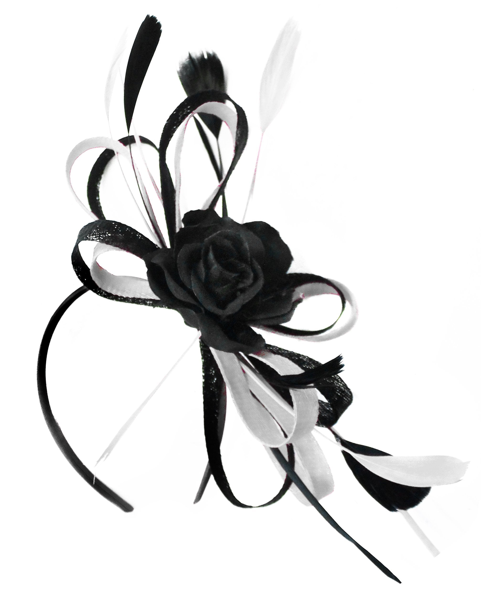 Caprilite Sinamay Rose Black and White Fascinator on Headband Alice Band UK Wedding Ascot Races Loop
