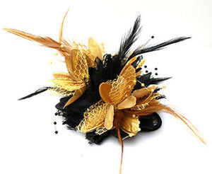 Caprilite Black and Gold Fascinator Black Headband Clip Comb Flower Corsage