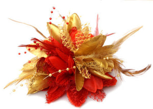 Caprilite Gold and Red Fascinator Black Headband Clip Comb Flower Corsage