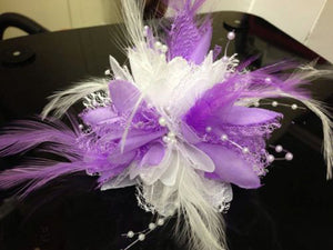 Caprilite Cream and Purple Fascinator Black Headband Clip Comb Flower Corsage