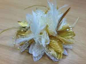 Caprilite Cream and Gold Fascinator Black Headband Clip Comb Flower Corsage