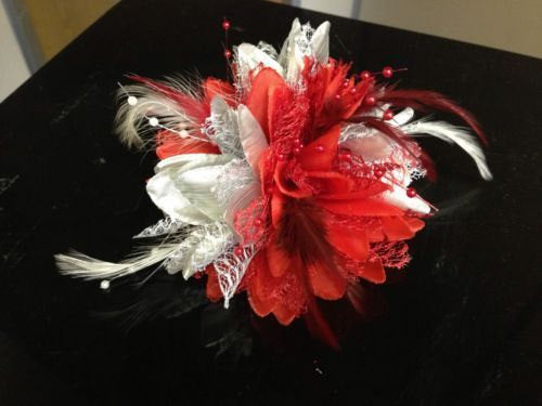 Caprilite Silver and Red Fascinator Black Headband Clip Comb Flower Corsage
