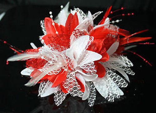 Caprilite White and Red Fascinator Black Headband Clip Comb Flower Corsage