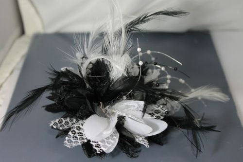 Caprilite Black and White Fascinator on Black Headband Flower Corsage