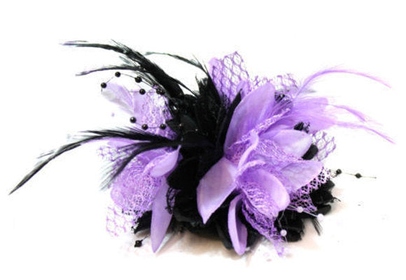 Caprilite Black and Purple Fascinator Black Headband Clip Comb Flower Corsage