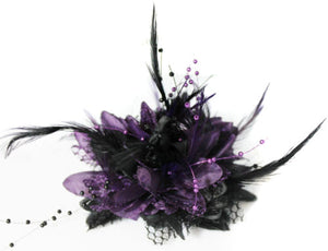 Caprilite Black and Purple Fascinator on Headband Flower Corsage