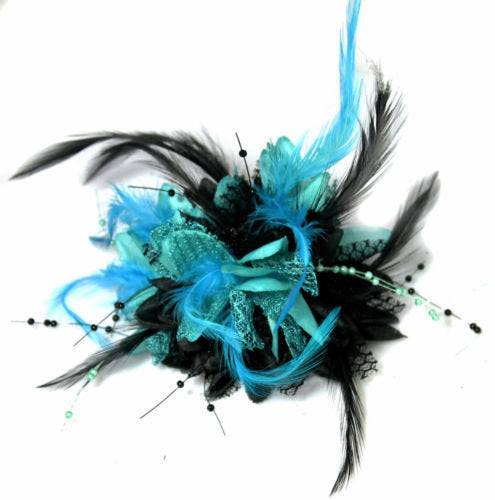Caprilite Black and Turquoise Fascinator Black Headband Clip Comb Flower Corsage