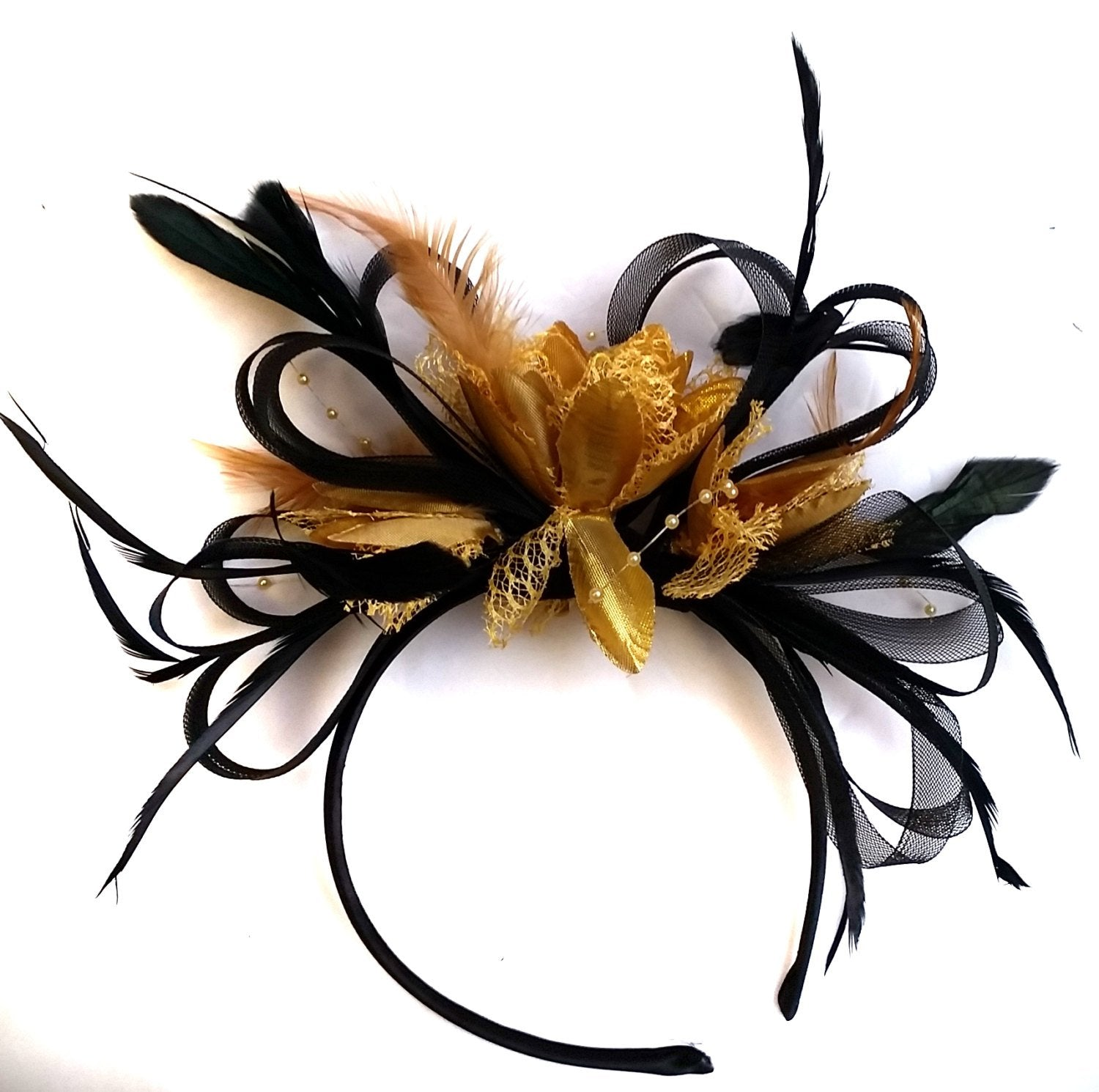 Caprilite Black and Gold Loop Net Fascinator on Headband Alice Band Wedding Ascot Races