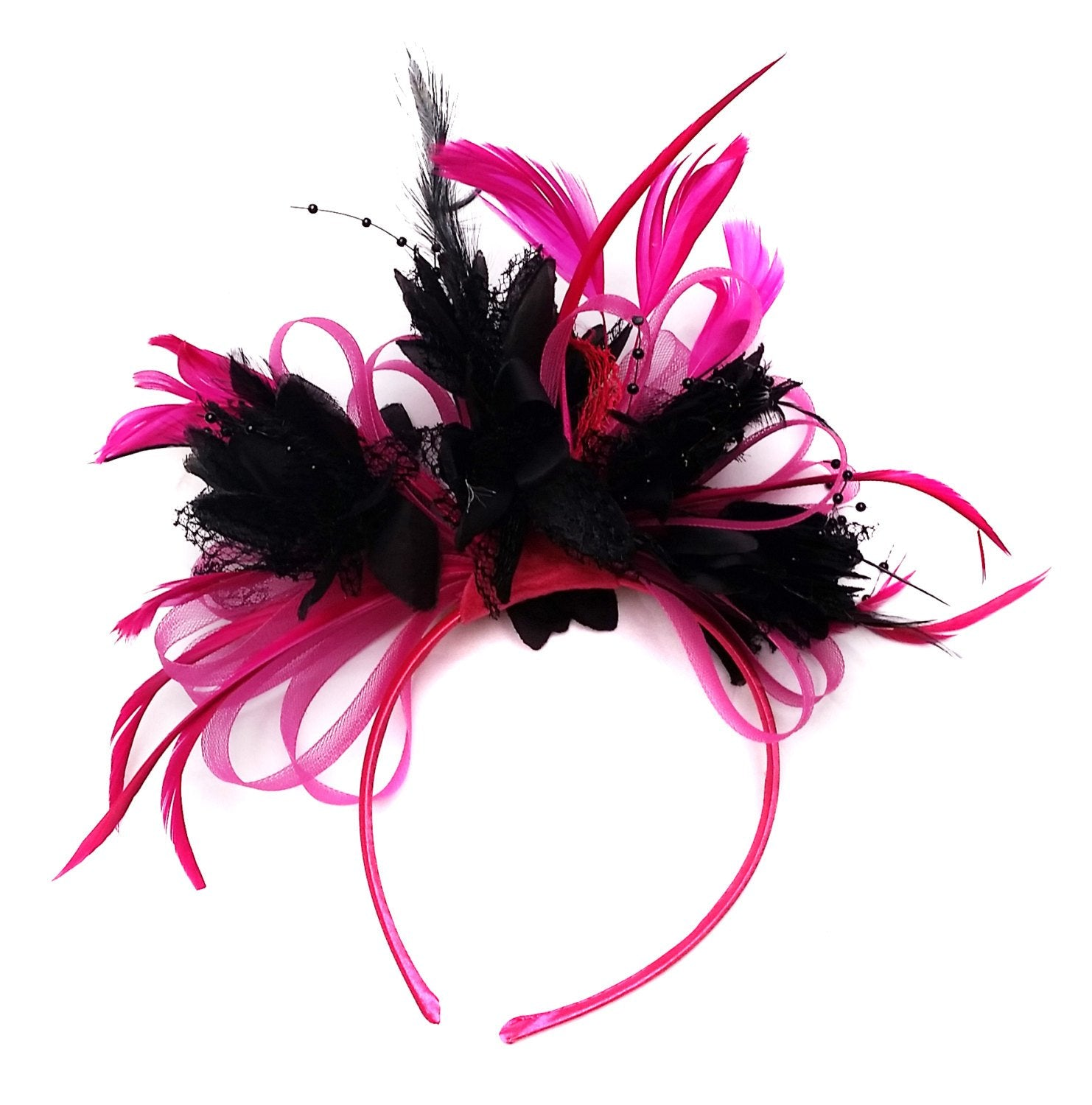 Caprilite Fuchsia Hot Pink and Black  Wedding Fascinator Headband  Alice Band Ascot Races Loop Net